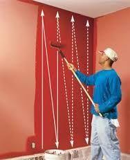 правильные движения валиком при покраске стен