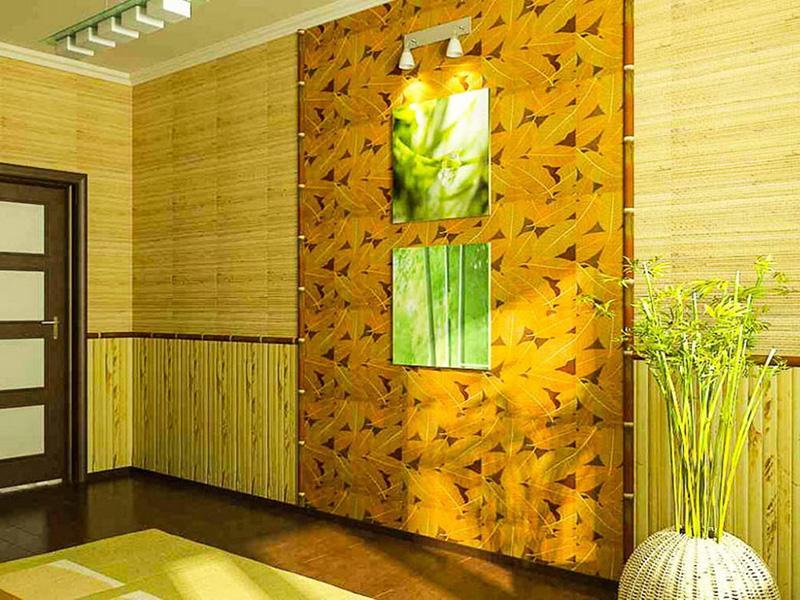 Бамбуковое полотно для стен в интерьере